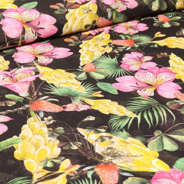 Tissu Mousseline Tropiques sur fond Noir