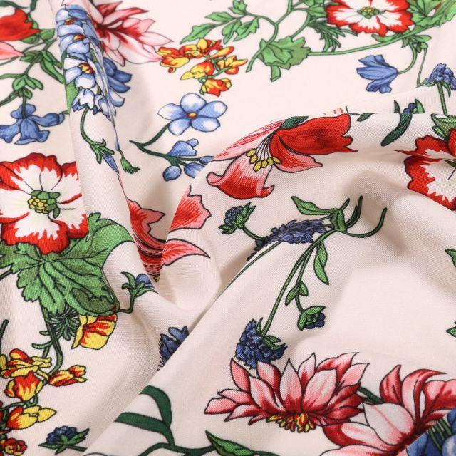 Tissu Viscose légère Fleuris sur fond Blanc cassé