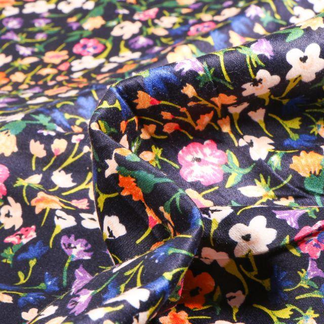 Tissu Coton satiné extensible Fleuris sur fond Bleu marine
