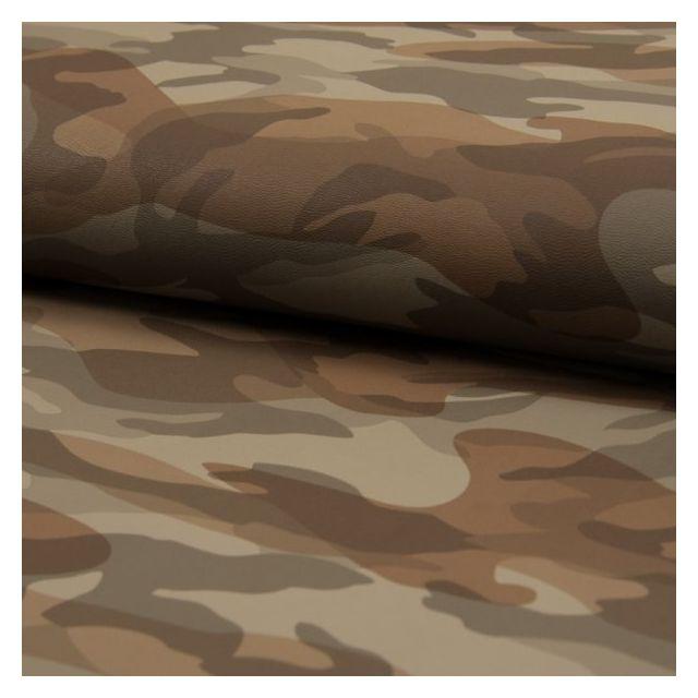 Tissu Simili cuir souple Camouflage Taupe - Par 10 cm
