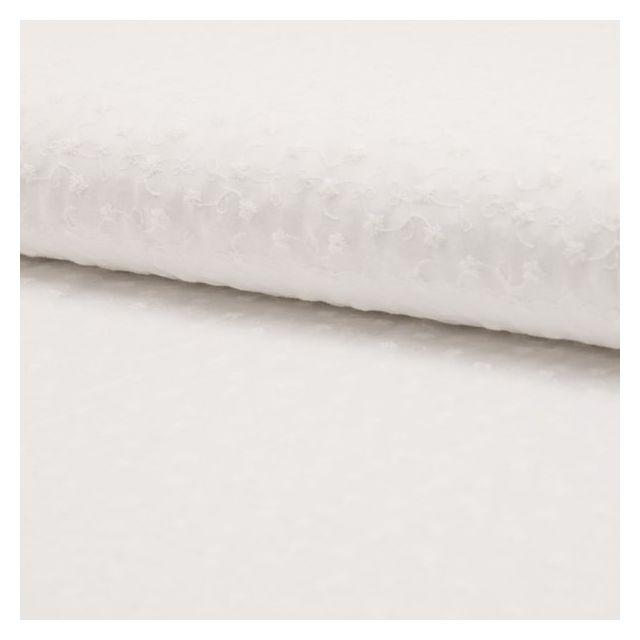 Tissu Voile de coton brodé Fleurs Blanches sur fond Blanc - Par 10 cm