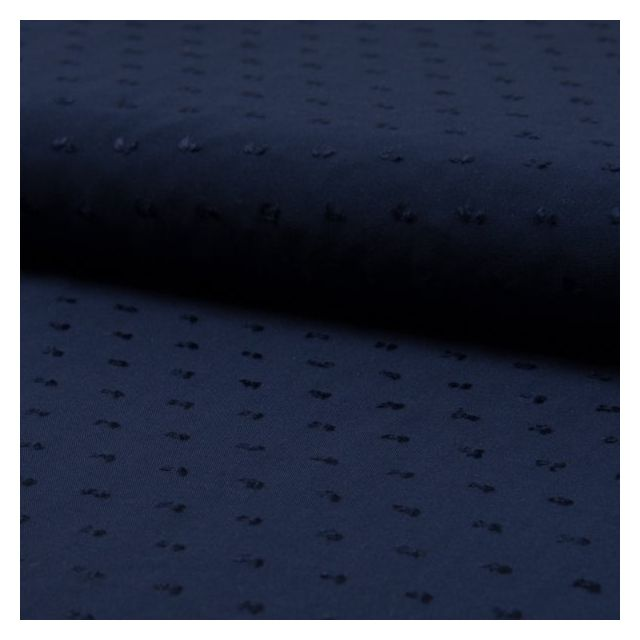 Tissu Plumetis Viscose uni Bleu marine - Par 10 cm
