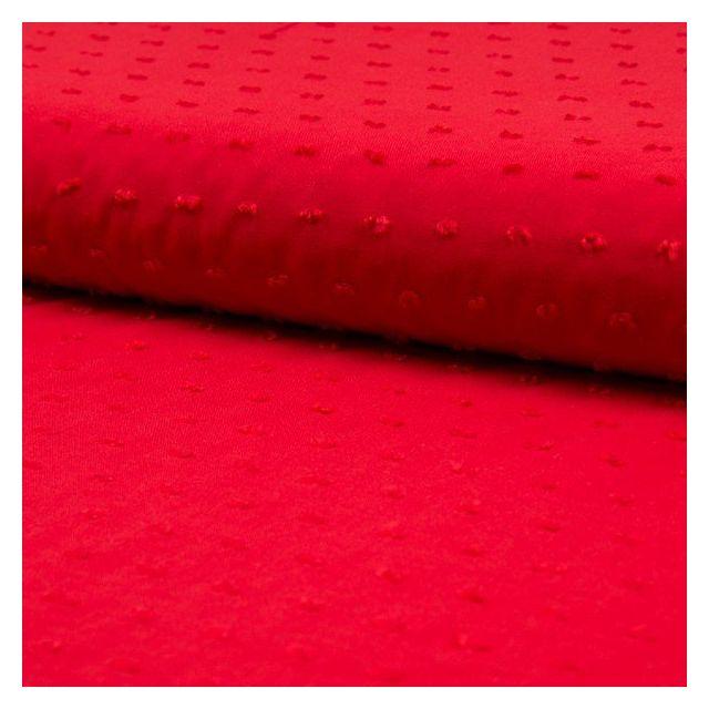 Tissu Plumetis Viscose uni Rouge - Par 10 cm