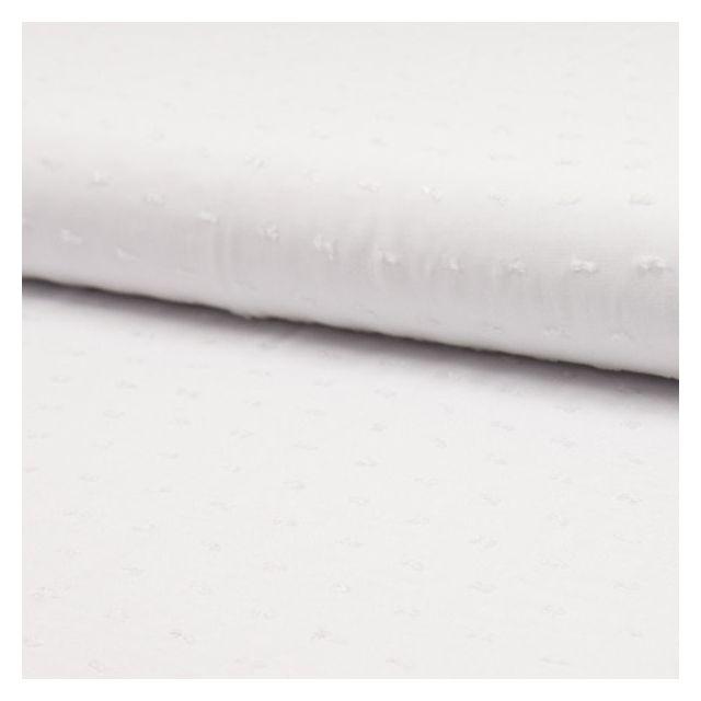 Tissu Plumetis Viscose uni Blanc - Par 10 cm