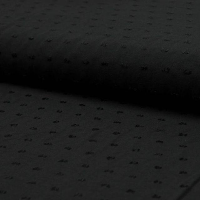 Tissu Plumetis Viscose uni Noir - Par 10 cm