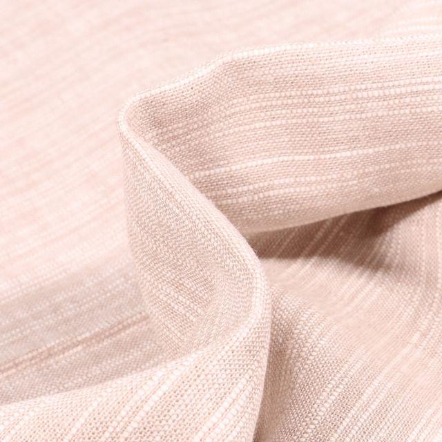 Tissu Lin Coton  Fines rayures blanches sur fond Naturel