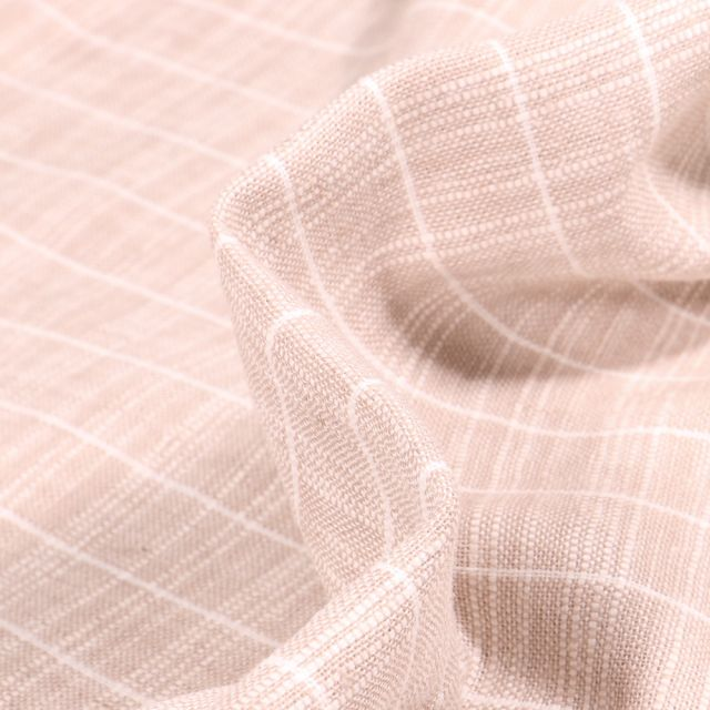 Tissu Lin Coton  Rayures blanches sur fond Naturel