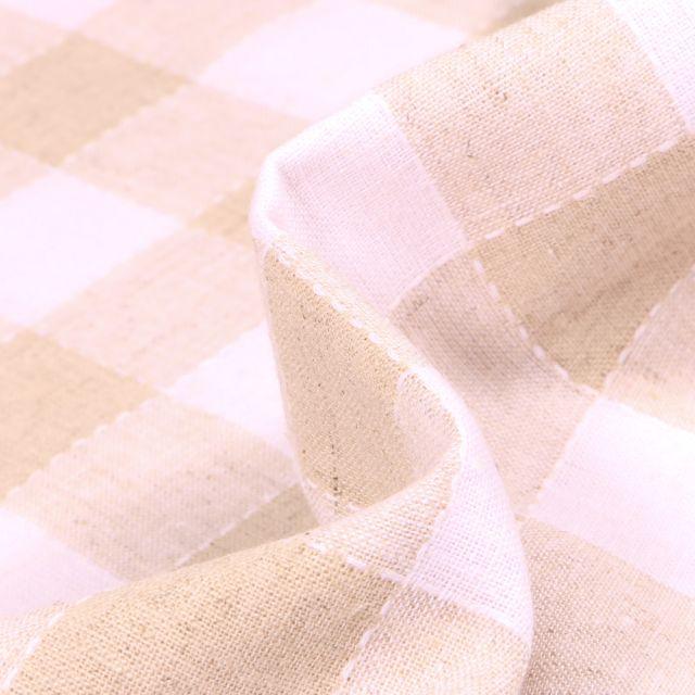 Tissu Lin Coton  Carreaux blancs et beiges sur fond Naturel