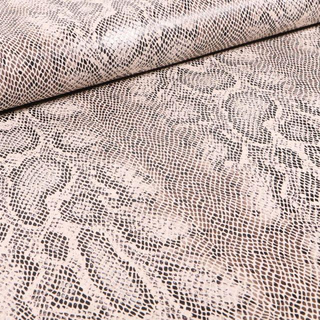 Tissu Lin Viscose extensible Motif peau de reptile métallisé sur fond Beige