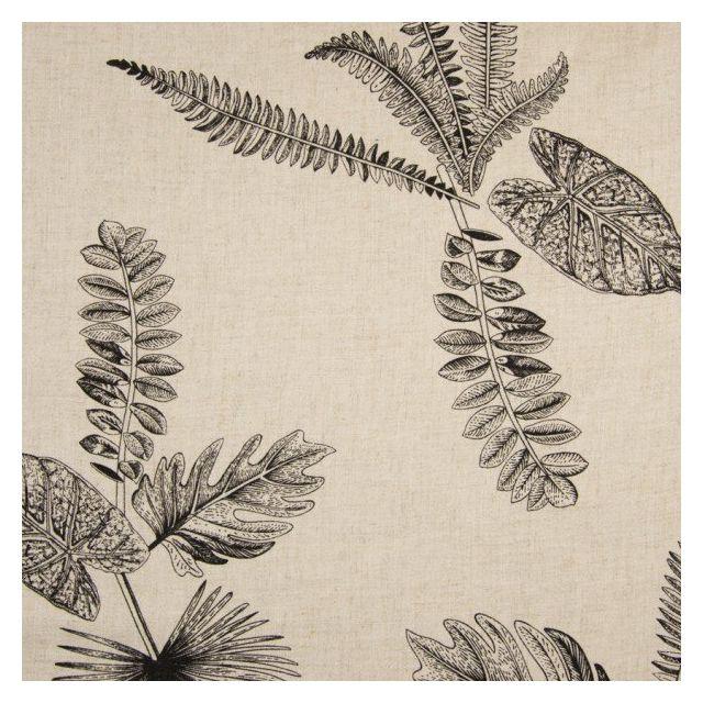 Tissu Lin Viscose lavé Feuilles diverses sur fond Beige chiné - Par 10 cm