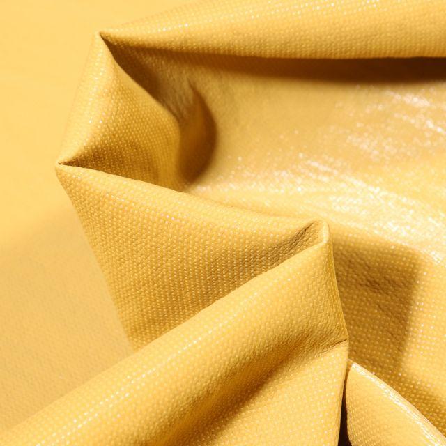 Tissu Simili cuir d'habillement Petits points brillants sur fond Jaune
