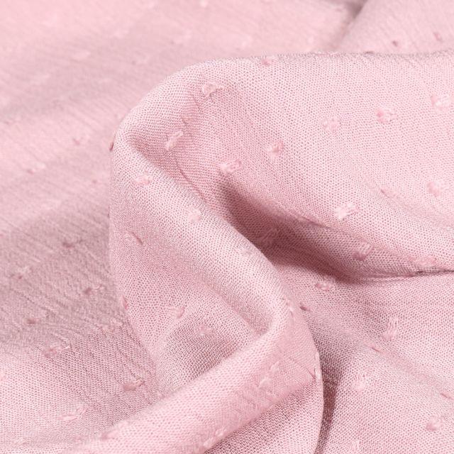 Tissu Viscose Plumetis uni Rose