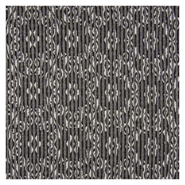 Tissu Jersey Jacquard  Arabesque sur fond Gris anthracite - Par 10 cm