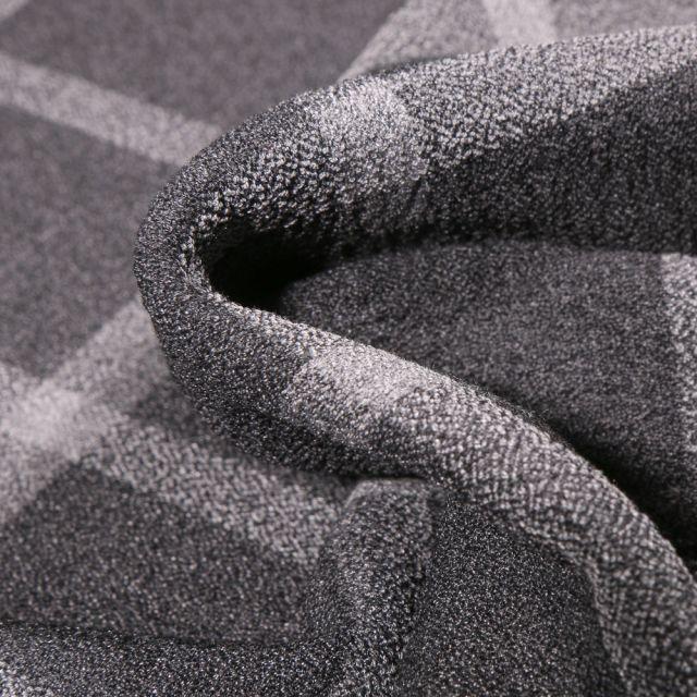 Tissu Crêpe texturé Carreaux gris clair sur fond Gris foncé