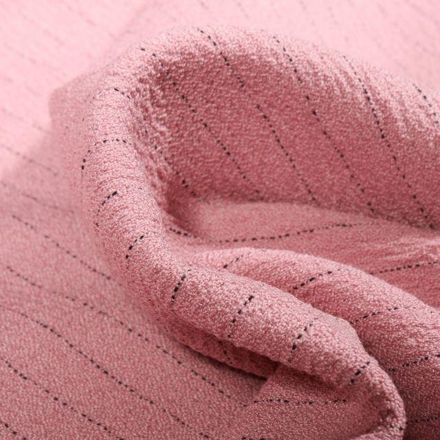 Tissu Crêpe texturé Rayures noires sur fond Rose