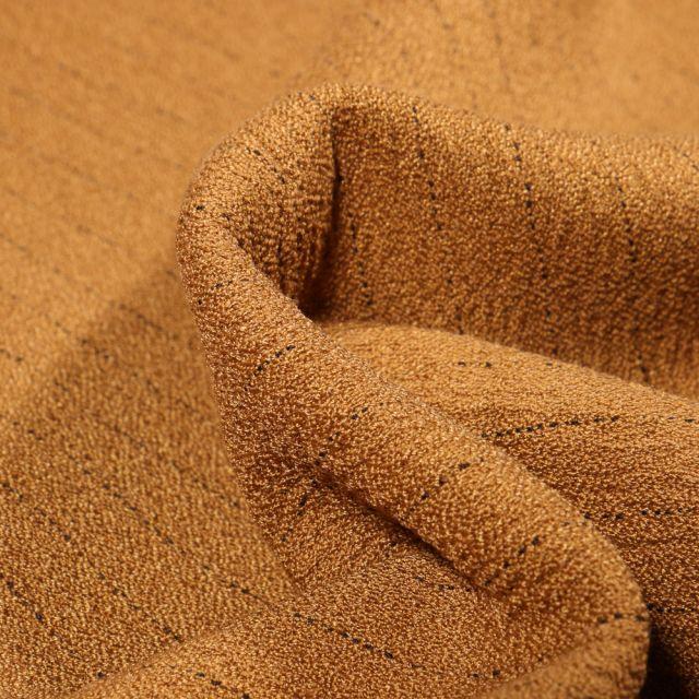 Tissu Crêpe texturé Rayures noires sur fond Moutarde