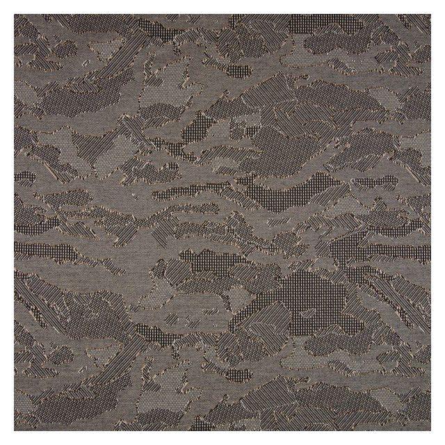 Tissu Jacquard Jersey Harvard Motifs abstraits Noirs et  ocres sur fond Gris - Par 10 cm
