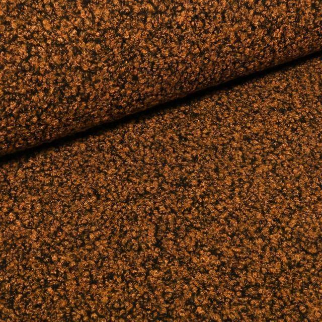Tissu Lainage bouclettes bicolores Jaune orangé sur fond Noir - Par 10 cm