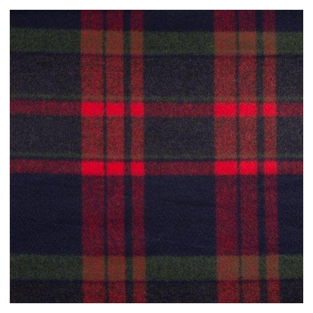 Tissu Caban Mélange Laine Carreaux vert et rouge sur fond Bleu marine - Par 10 cm