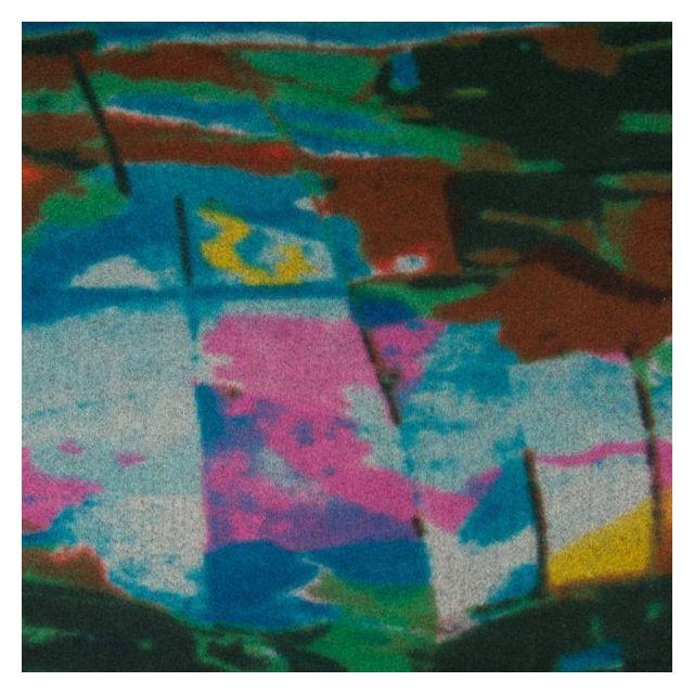 Tissu Caban Laine Motifs abstrait rose et marron sur fond Bleu - Par 10 cm
