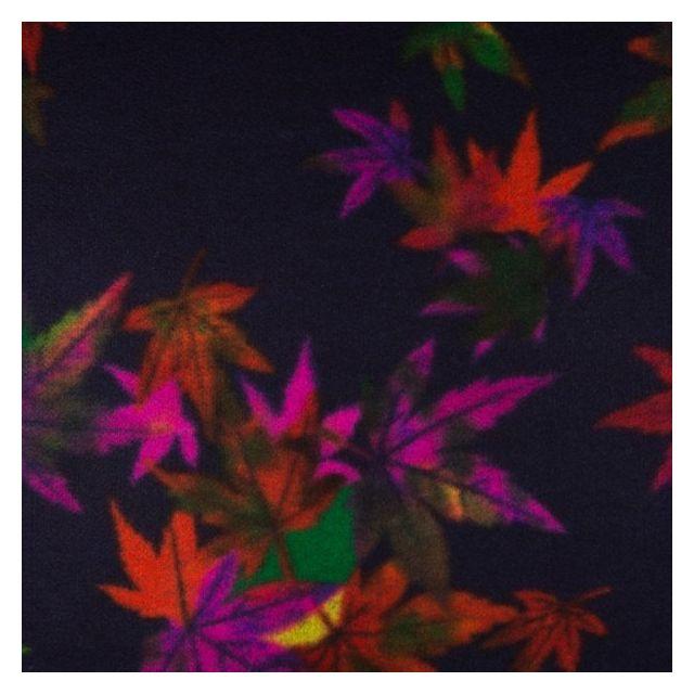 Tissu Caban Laine Feuilles fuchsia et orange sur fond Violet foncé - Par 10 cm