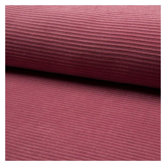 Tissu Jersey Côtelé Aspect Velours Vieux rose - Par 10 cm