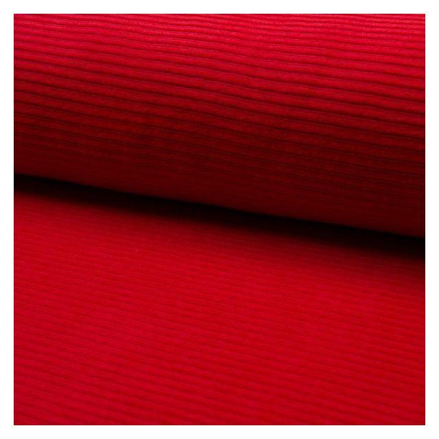 Tissu Jersey Côtelé Aspect Velours Rouge - Par 10 cm