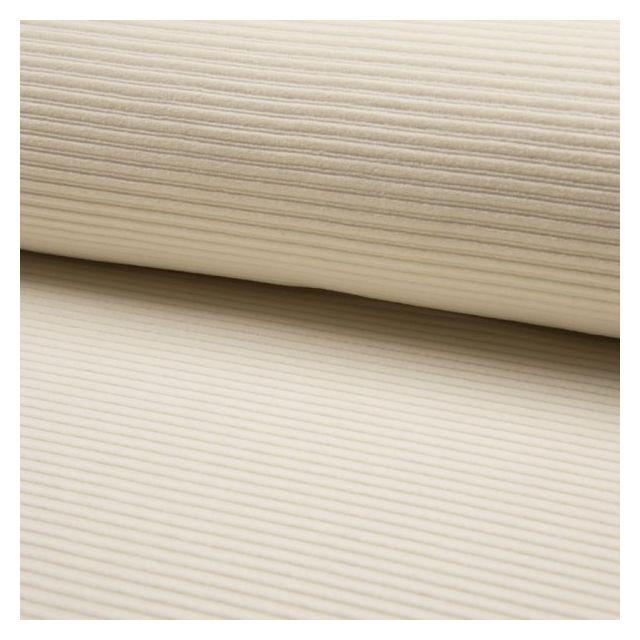 Tissu Jersey Côtelé Aspect Velours Ecru - Par 10 cm