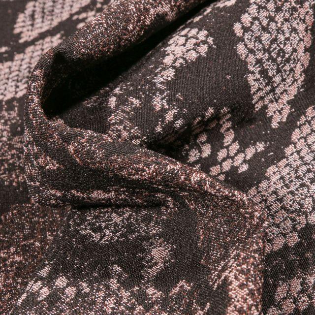 Tissu Bengaline Jacquard Peau de reptiles sur fond Marron