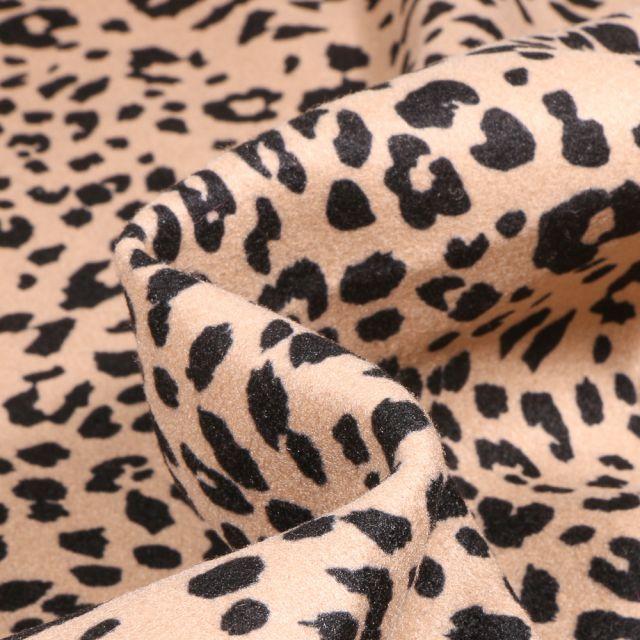 Tissu Drap de manteau épais Léopard sur fond Beige
