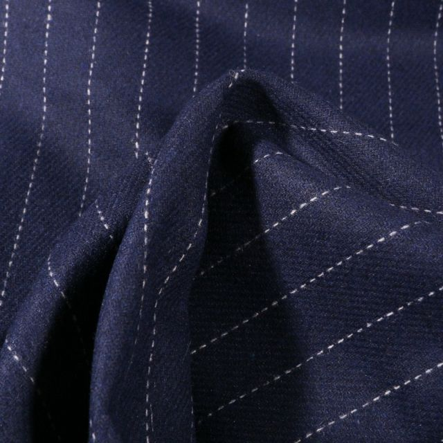 Tissu Gabardine Laine Rayures sur fond Bleu marine - Par 10 cm