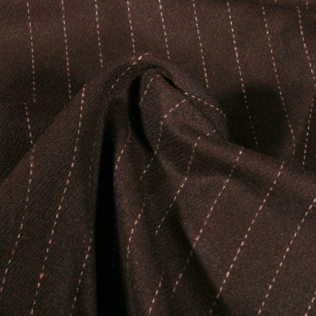 Tissu Gabardine Laine Rayures sur fond Marron - Par 10 cm