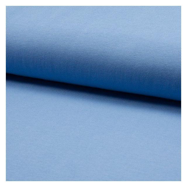Tissu Jersey Piqué de coton spécial Polo Bleu ciel - Par 10 cm