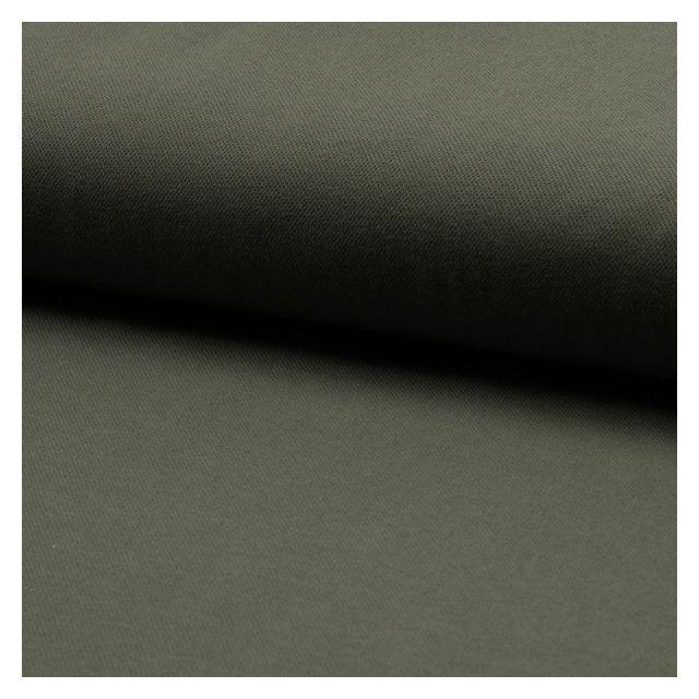 Tissu Jersey Piqué de coton spécial Polo Vert kaki - Par 10 cm