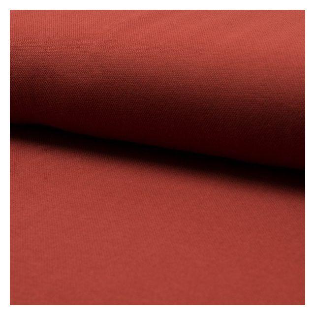 Tissu Jersey Piqué de coton spécial Polo Brique - Par 10 cm