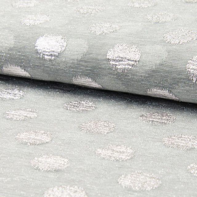 Tissu Résille à paillettes Ronds Argent - Par 10 cm