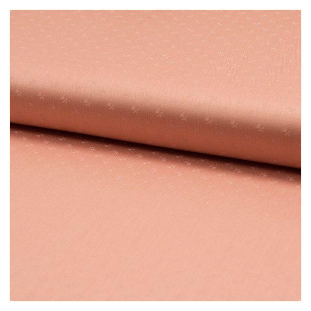 Popeline de coton satiné Romantico Petites fleurs ton sur ton sur fond Saumon - Par 10 cm