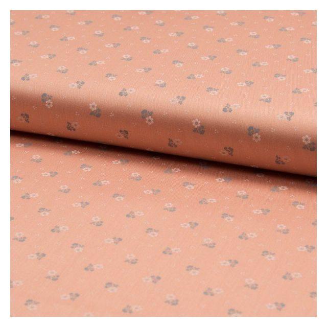 Popeline de coton satiné Romantico Petites fleurs blanches et grises sur fond Saumon - Par 10 cm