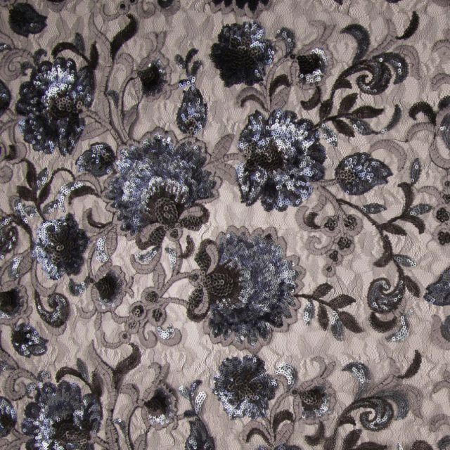 Tissu Paillettes Fleurs Argent x10cm