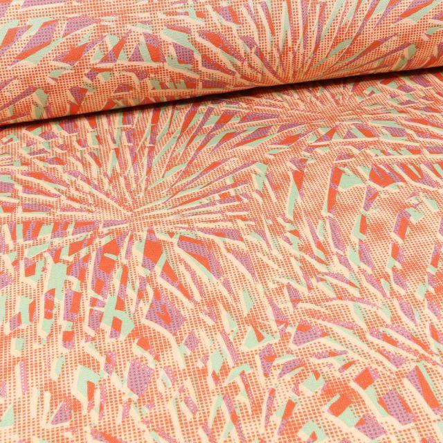 Tissu Toile Transat Dralon Feuilles de palmiers colorées sur fond Orange