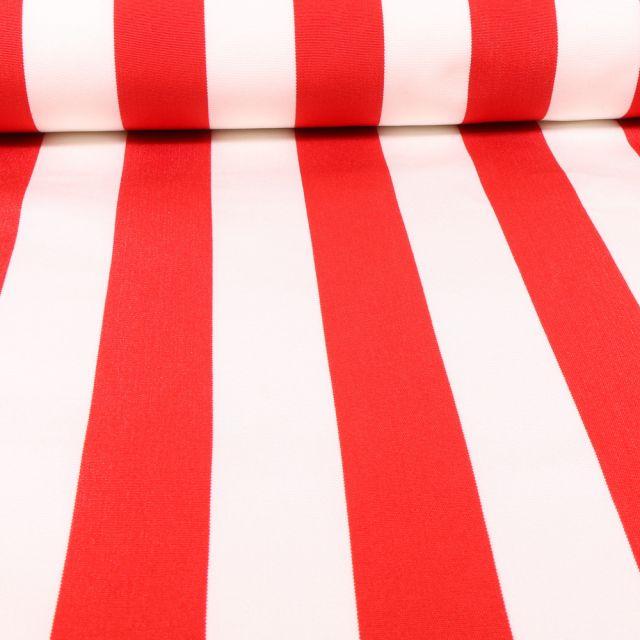 Tissu Toile Transat Rayures rouges sur fond Blanc