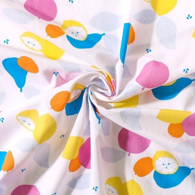 Tissu Popeline de coton Tutti Frutti Craftine - Par 10 cm