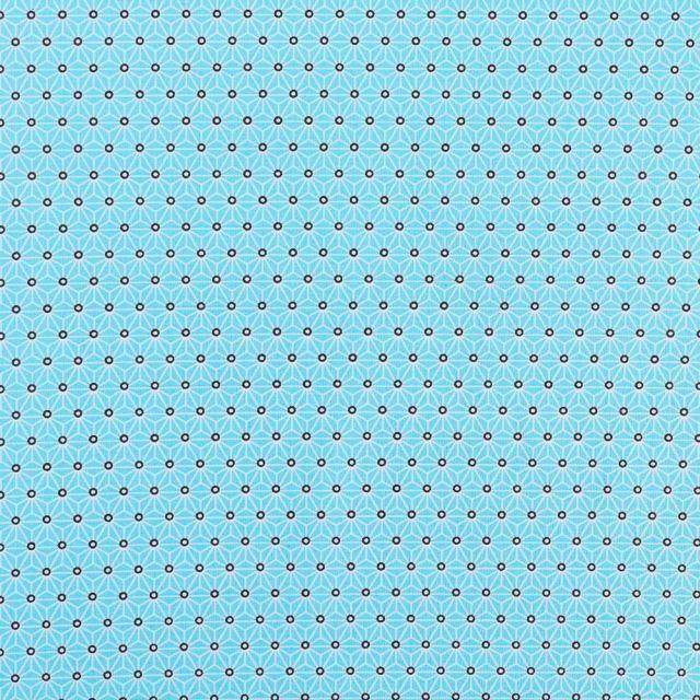 Tissu Coton Enduit Saki Bleu turquoise sur fond Ecru - Par 10 cm