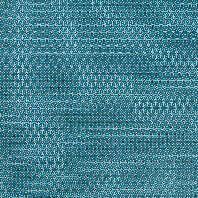 Tissu Coton Enduit Saki Bleu canard - Par 10 cm