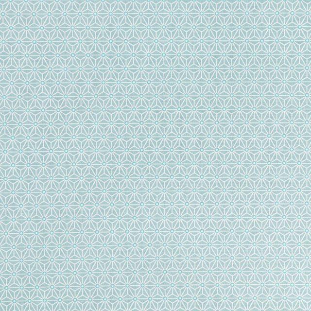 Tissu Coton Enduit Formes liées blanches sur fond Vert menthe - Par 10 cm