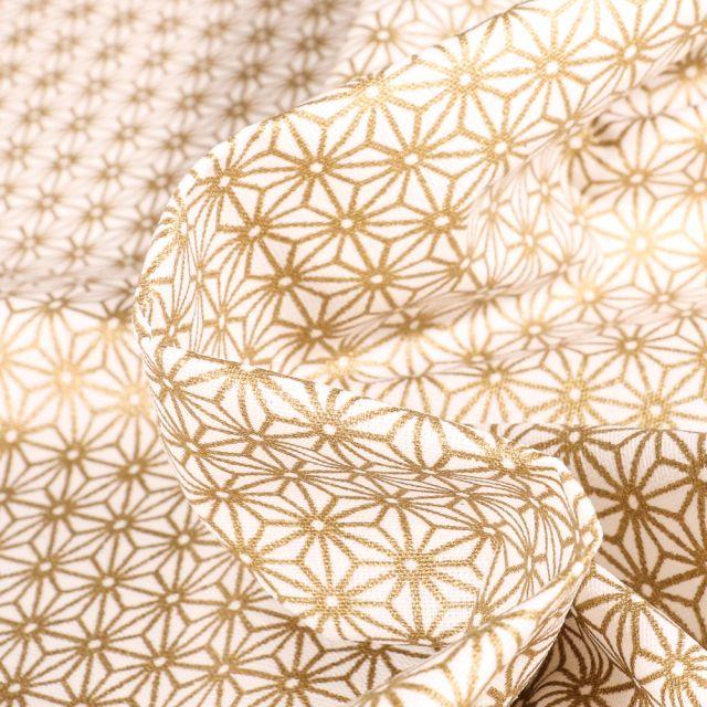 Tissu Coton enduit Saki Or sur fond Blanc