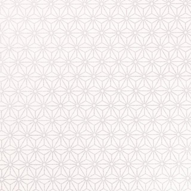 Tissu Coton Imprimé Arty Tokyo Argenté sur fond Blanc - Par 10 cm