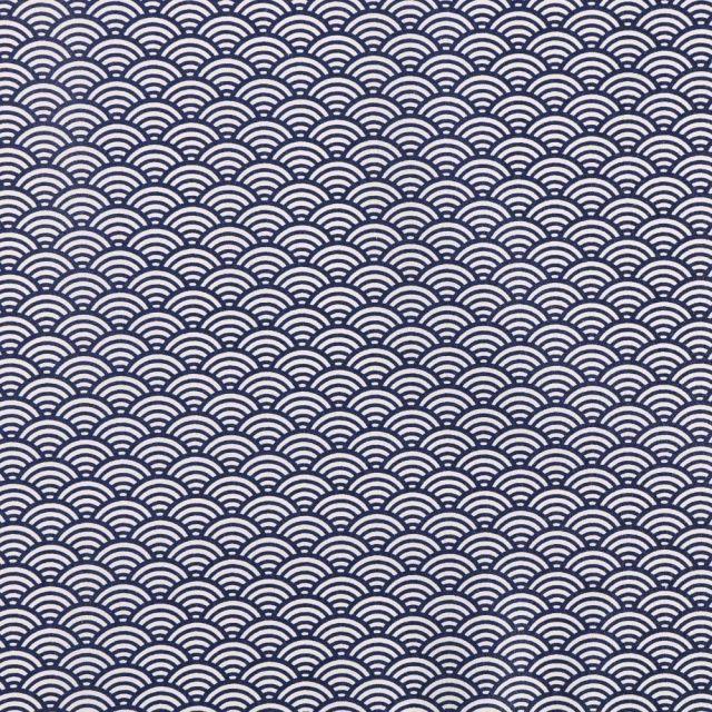 Tissu Coton Enduit Sushis Indigo - Par 10 cm