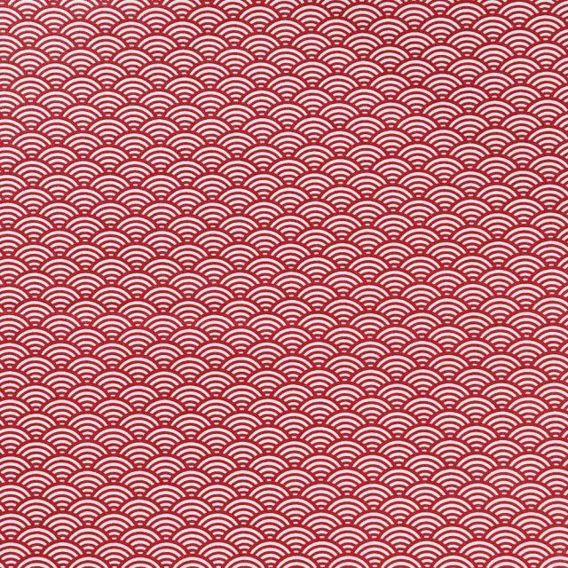 Tissu Coton Enduit Sushis Rouge - Par 10 cm