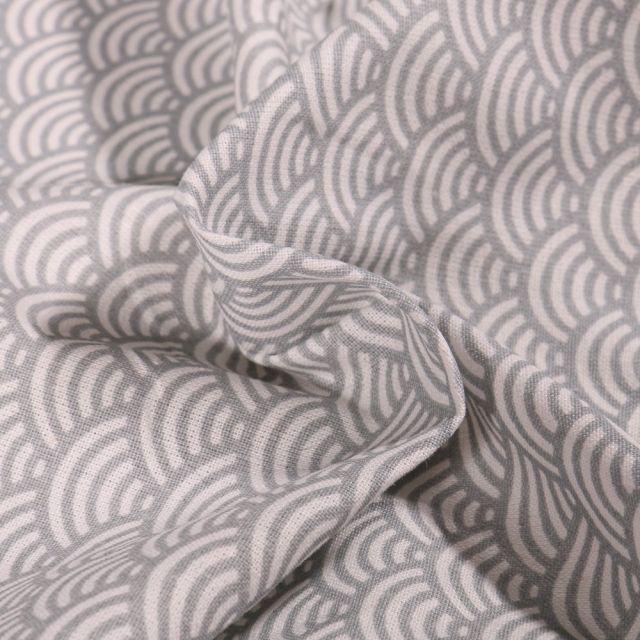 Tissu Coton Enduit Sushis Gris - Par 10 cm